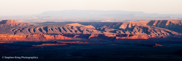 Sunset on Raplee Anticline and San Juan River valley, Utah-Arizona.