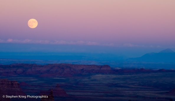 October moonrise over Valley Of The Gods, from the Moki Dugway.